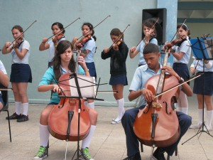 The String orchestra performs - School of Arts, Matanzas
