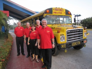 Boarding the yellow school bus, our local transport